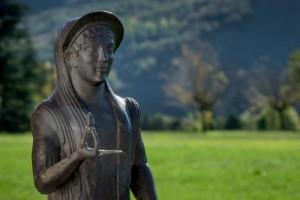 """La Grande Kore esposta nel Museo Nazionale Etrusco """"Pompeo Aria"""" di Marzabotto (foto Iago Corazza)"""