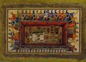 Acquerello del diciannovesimo secolo che ritrae la Tomba delle Danzatrici. Credit: Source/Sena Chiesa and Arslan 2004