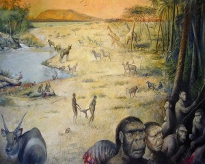 Resa artistica dell'habitat umano in Africa Orientale, 1,8 milioni di anni fa. Credit: M.Lopez-Herrera via The Olduvai Paleoanthropology and Paleoecology Project ed Enrique Baquedano.