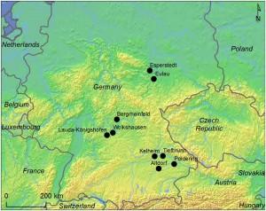 I siti menzionati nello studio. Credit: cartina di K-G Sjögren, utilizzando dati in pubblico dominio.