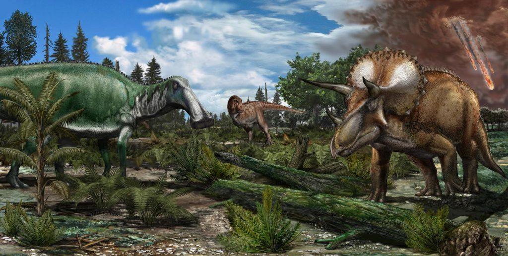 dinosaurs Tyrannosaurus rex Edmontosaurus Triceratops Cretaceous asteroid