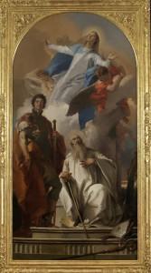 Giambattista Tiepolo, Madonna in gloria con i santi Giorgio e Romualdo, 1735, tela, cm 204 x 106