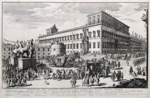 Gomar Wouters, Corteo del principe del Liechtenstein al Quirinale, 1692, acquaforte, mm 450x700, Roma, Museo di Roma, inv GS 168