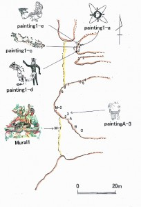 A_map_of_showing_location_of_paintings_and_murals_in_Oxtotitlan_cave