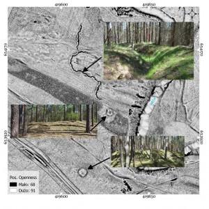 L'area presso Rytel. Combinazione dei dati di visualizzazione ALS e documentazione fotografica effettuata durante i rilevamenti sul campo. Preparata da Mikołaj Kostyrko, Dawid Kobiałka, Filip Wałdoch.