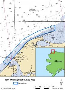 L'area dei rilevamenti. Credit: NOAA