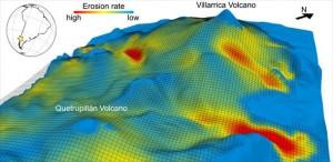 Simulazione con modello 3D di una glaciazione del vulcano Villarrica (Cile). Credit: Pietro Sternai.