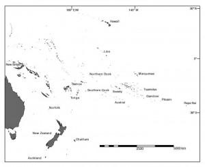 Cartina del Pacifico che indica Rapa Nui. Credit: Carl Lipo, Binghamton University