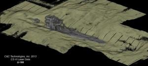 Scansione laser 3D dell'U-166, che affondò durante la Seconda Guerra Mondiale nel Golfo del Messico. Credit: BOEM/C&C Technologies, Inc.