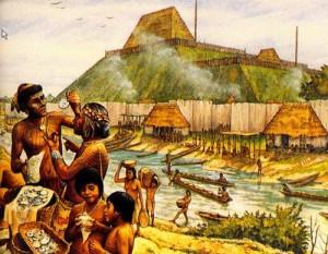 Resa artistica delle popolazioni di Cahokia. Credit: Cahokia Mounds State Historic Site