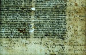 Annotazioni nascoste, mescolate al testo in una Bibbia in latino del 1535 Credit: © Lambeth Palace Library