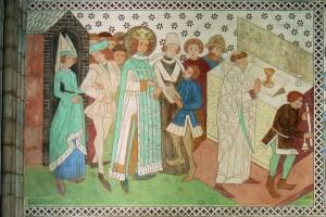 Erik IX il Santo viene messo in guardia durante la Messa. Dipinto murale dalla Cattedrale di Uppsala. Credit: Anders Damberg