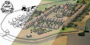 Ricostruzione artistica in 3D digitale dell'insediamento medievale di Nieszawa/Dybów, sulla base di analisi non invasive (autori: J. Zakrzewski, S. Rzeźnik, P. Wroniecki).