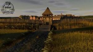 Ricostruzione artistica in3D digitale dell'insediamento medievale di Nieszawa, vista da occidente (autori: J. Zakrzewski, T. Mełnicki).