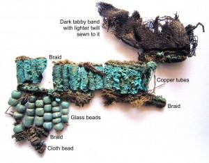 Probabili resti di decorazioni per la testa, forse uniti alla maschera in oro/argento. Credit: M. Gleba
