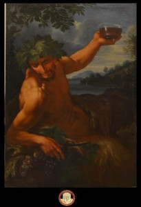 Dipinto raffigurante mezzobusto di Bacco con uva e coppa di vino