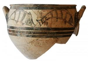 Cratere miceneo con decorazioni di pesci, 1300 a. C.