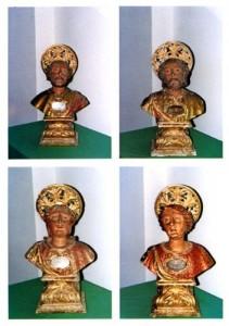 4 busti reliquiari in legno