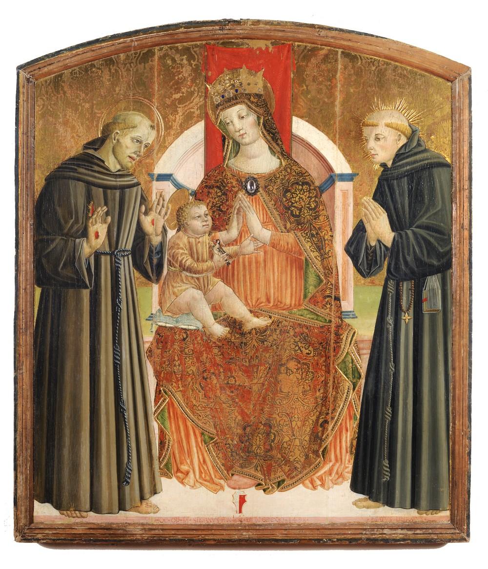 """Stefano Folchetti Madonna in trono con Bambino, san Francesco e il beato Liberato da Loro Piceno San Ginesio Pinacoteca """"Scipione Gentili"""""""