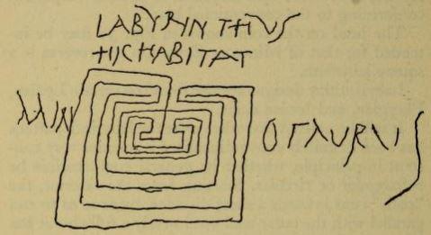 graffito Minotauro Labirinto Pompei