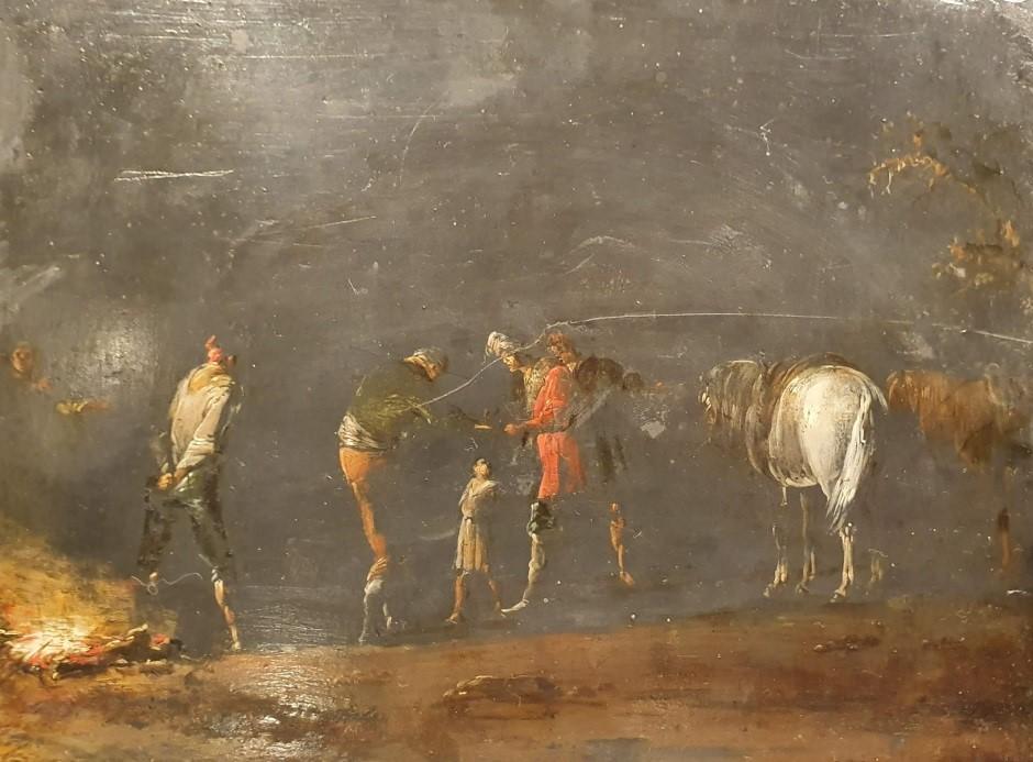 Notturno con briganti e cavalli intorno a un fuoco Leonaert Bramer Leonardo delle Notti Carabinieri