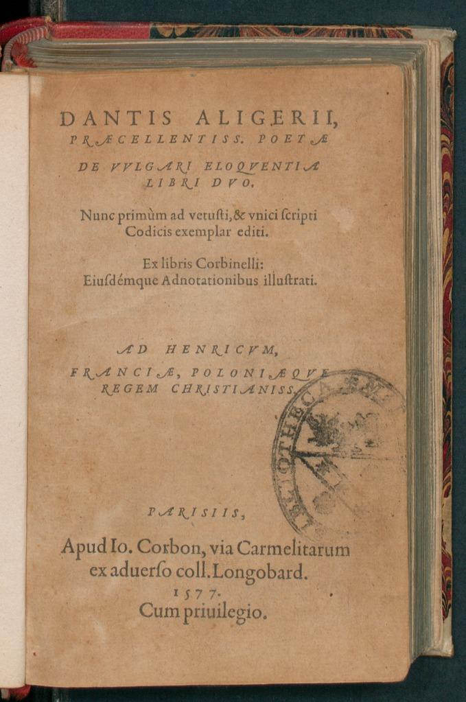 De vulgari eloquentia Dante Alighieri Francesco Sabatini
